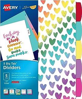 Avery + Amy Tangerine Designer Collection Big Tab Dividers, Rainbow Vibes, 5-Tab Set (11394)