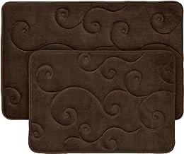 2 pc Memory Foam Bath Mat Set by Lavish Home - Coral Fleece Embossed Pattern - Blue Chocolate