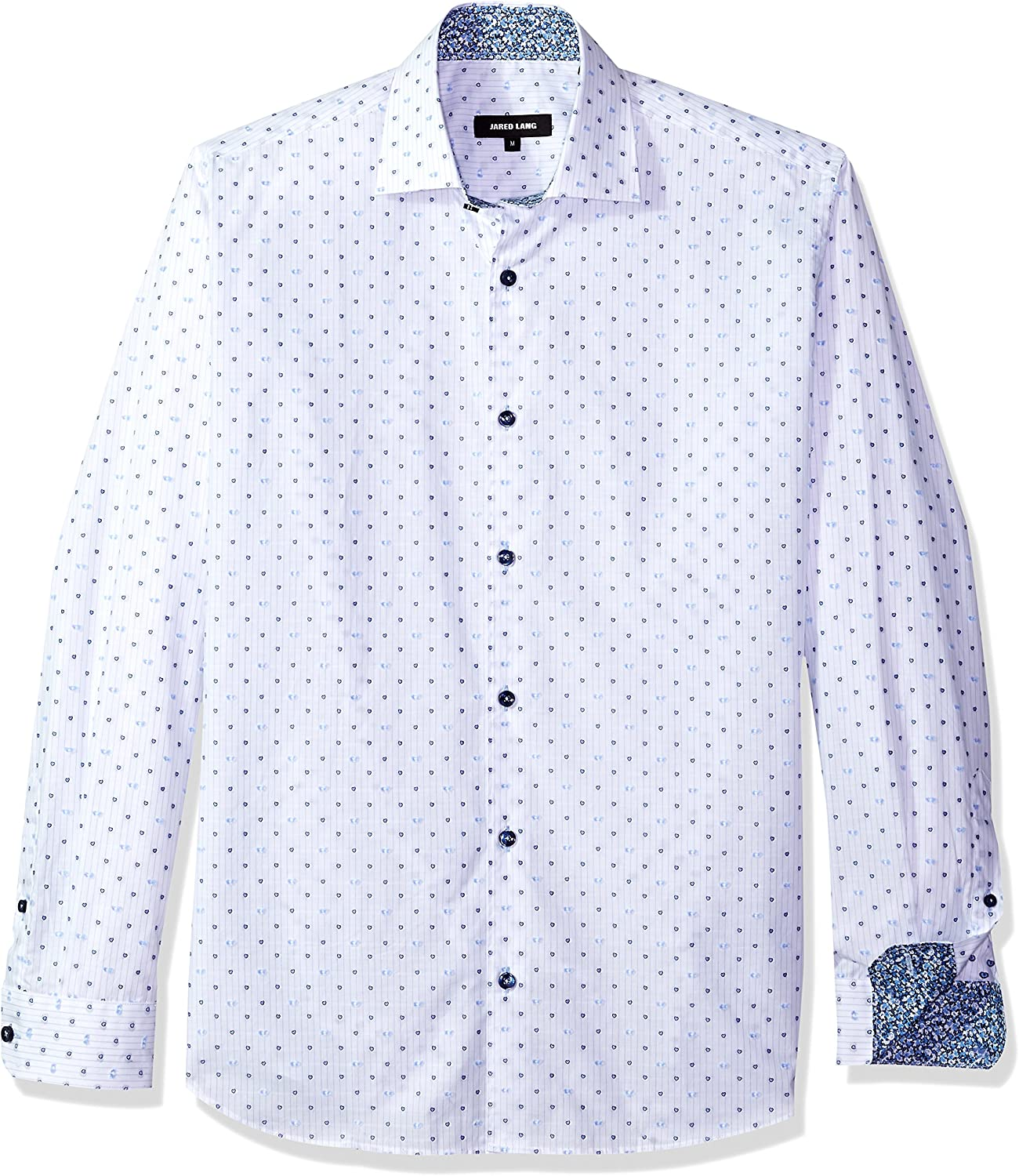 412baeff Jared Lang Mens Mens Shirt Shirt Shirt in White and Dots Button Down Shirt  11cfd7