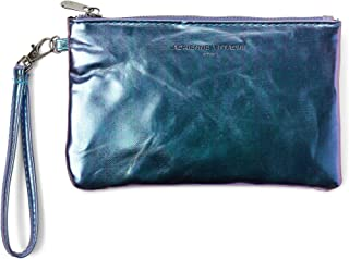 ADRIENNE VITTADINI Zip-Around Charging Wristlet with Detachable Strap (Blue Holographic Saffiano)