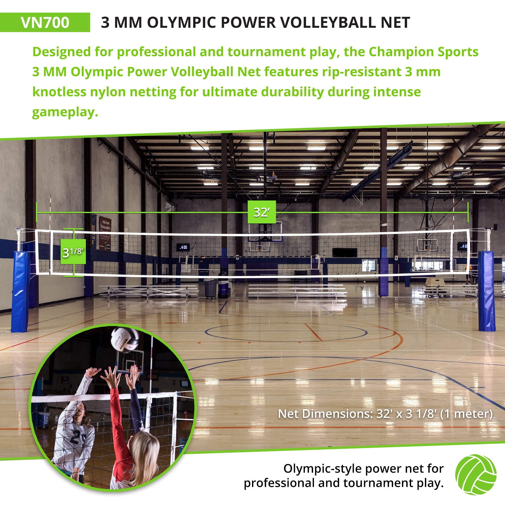 Champion Sports Official Volleyball Net Set Olympic Sized 32 X 3 Feet 3mm Nylon Netting For Tournament Play Durable Professional Volleyball Nets Premium Volleyball Training Equipment Amazon Sg Sports Fitness Outdoors
