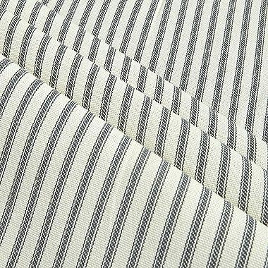 Santee Print Works Vertical Ticking Stripe Ivory Charcoal