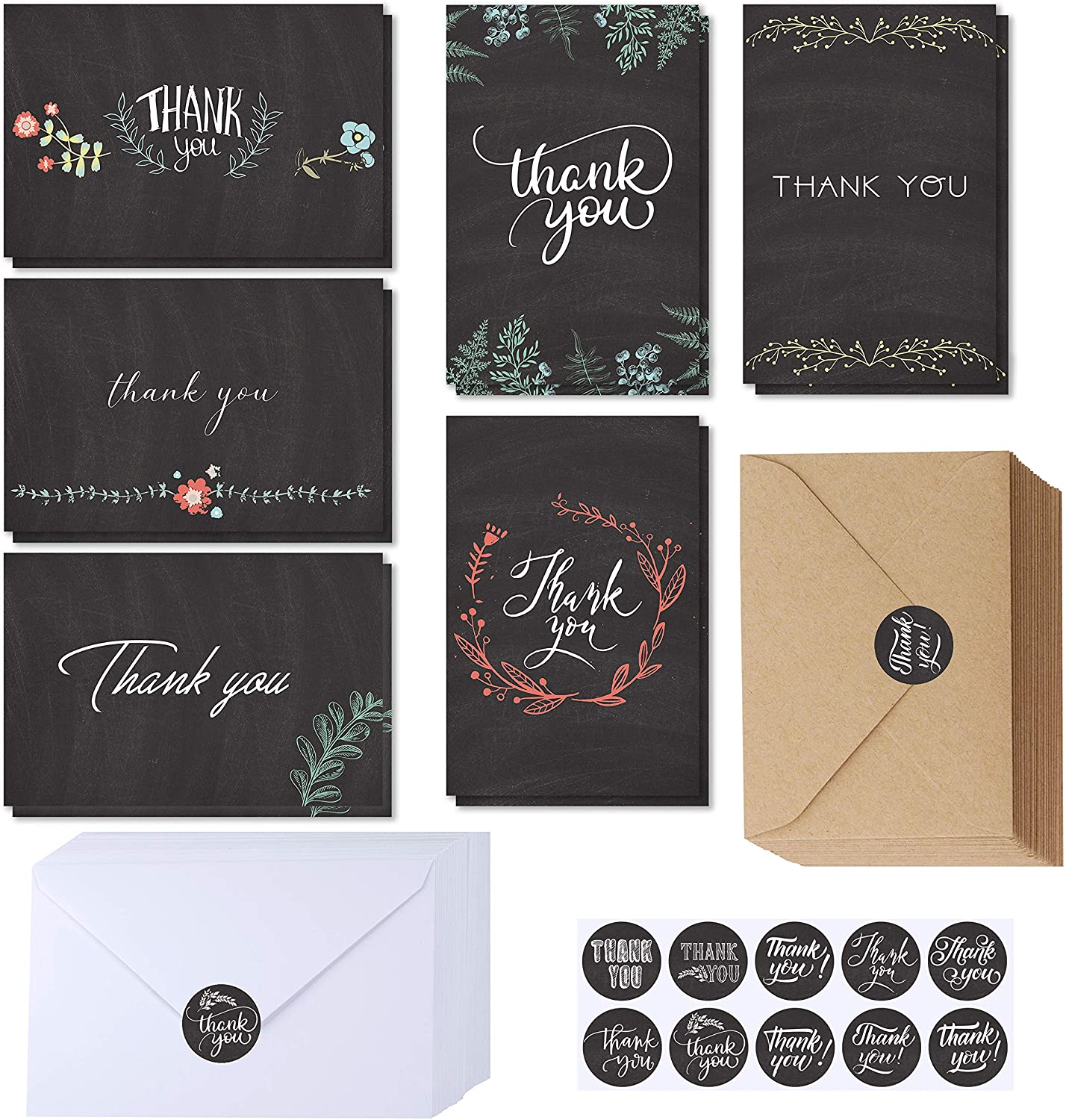 Bombing new Max 46% OFF work Supla 150 Sets Thank You Cards with Bulk Stickers Envelopes Than