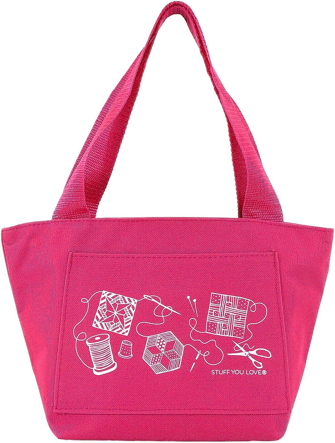 Quilt Happy Petite Project Bag, Hot Pink