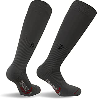 Travelsox TSS6000 Patented Graduated Compression Performance Travel & Dress Socks With DryStat OTC Pairs, Grey, Large