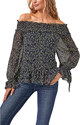 Off-the-Shoulder Flora Whispers Blouse w/ Ties