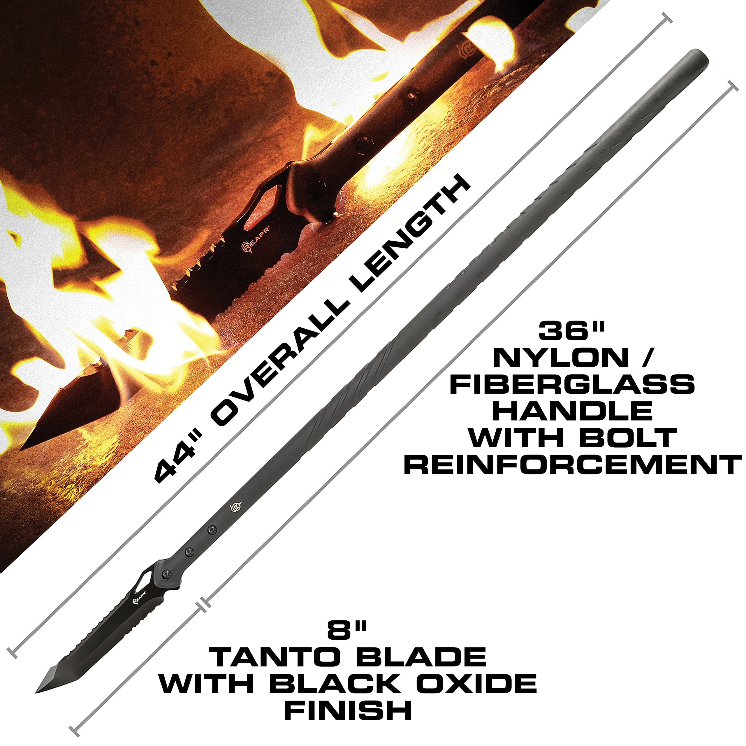 Reapr 11022 TAC Javelin Serrated Spear, Accurate Throwing Spear, Stainless Steel Survival Spear, Nylon-Fiberglass Tactical Spear Handle, Hunting Spear