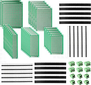 DEYUE 60 Pcs PCB Perforated Printed Circuits Boards Kit | 28 Double-Sided Prototyping PCBs Circuit Boards | 20 Female/Male Header Connector Pin | 12 PCB Terminal Blocks and A Happy DIY
