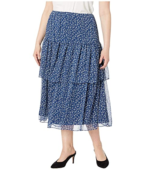 5d22f590110 LAUREN Ralph Lauren Plus Size Print Georgette Tiered Skirt at Zappos.com