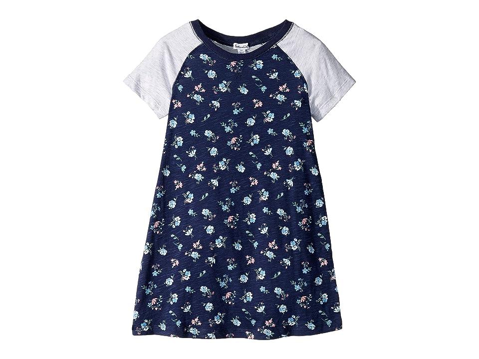 Splendid Littles Floral Raglan Sleeve Dress (Toddler/Little Kids) (Navy) Girl