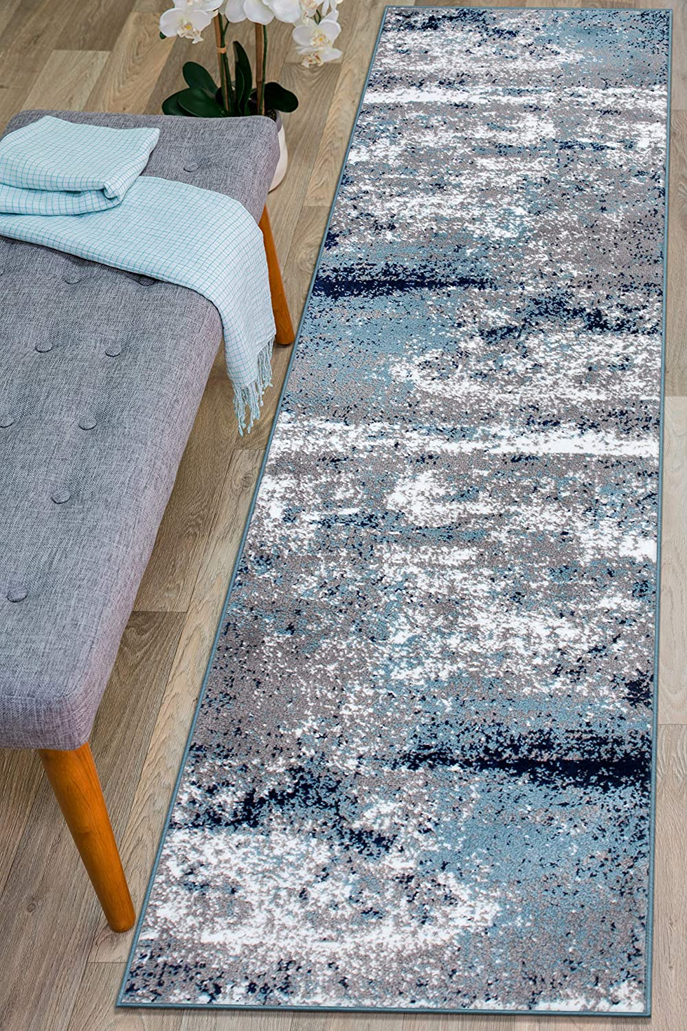 Free Award shipping on posting reviews Rugshop Distressed Abstract Watercolor Runner 2' Rug Blue x 7'