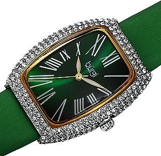 Burgi BUR237 Swarovski Crystal & Diamond Accented Leather Strap Women's Rectangle Watch