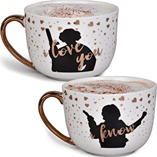 Star Wars Princess Leia and Han Solo Coffee Mug Set - I Love You, I Know - Star Wars Pinache - 20 oz