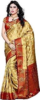 MIMOSA Artificial Silk Saree Kanjivaram Style with Blouse Color:Chiku