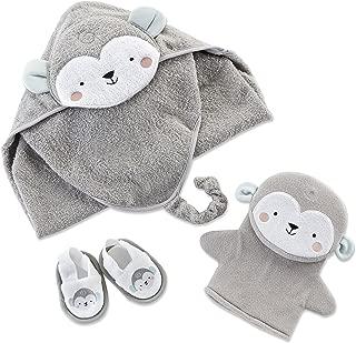 Baby Aspen Monkey 3 Piece Bath Set | Terry Cotton Hooded Towel, Spa Slippers & Bath Mitt