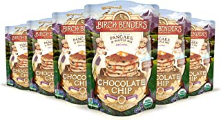 Organic Chocolate Chip Pancake and Waffle Mix by Birch Benders, Whole Grain, Non-GMO, 96 Ounce Family Pack (16oz 6-pack)
