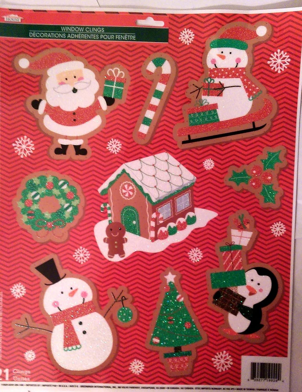 Christmas Reusable Window Glitter Clings  Santa, Snowman, Penguin, Gingerbread House, Snowflakes (21 Clings, 1 Sheet)