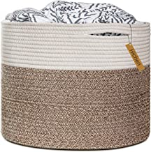 "HiChen Large Cotton Rope Basket 15.8""x15.8""x13.8""-Baby Laundry Basket Woven Blanket Basket Nursery Bin"