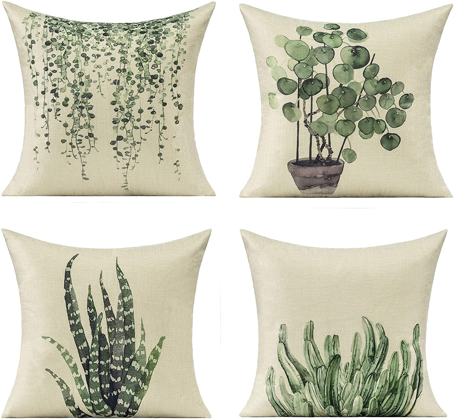 All Smiles Plants Summer Outdoor Throw Pillow Covers for Patio Furniture Garden Bench Porch Spring Green Decorative Cushion Cases Home Decor 20x20 Set of 4 Couch Sofa Accent Pillowcases Indoor