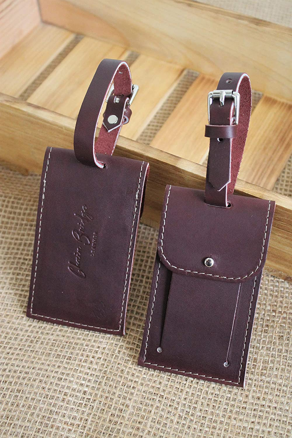 Burgundy Leather Luggage Tag Popular products Baggage Set Handmade of in 2 Miami Mall O