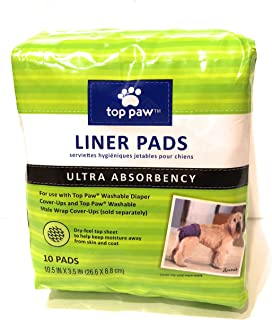 TOP PAW Ultra Absorbency Disposable Liner Pads for Use with Reusable Male Wrap Diaper Covers 10 Count