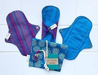 南インド「Eco Femme」布ナプキン (防水あり/肌面色付)軽い日用3枚+ポーチ GOTS認定品