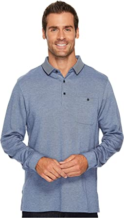 BUGATCHI - Long Sleeve Three-Button Polo Collar Fancy Knit w/ Cuff Pocket