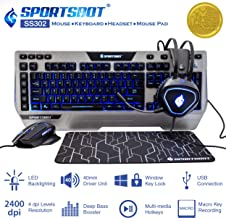 SportsBot SS302 4-in-1 LED Gaming Over-Ear Headset Headphone, Keyboard, Mouse & Mouse Pad Combo Set w/ 6 Programmable Macro Keys, 3 Macro Modes, 40mm Speaker Driver, Microphone