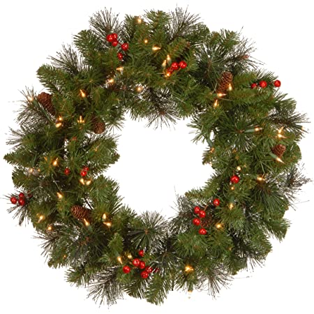 National Tree Company Pre Lit Artificial Christmas Wreath Flocked With Mixed Decorations And Pre Strung White Lights Crestwood Spruce 24 Inch Home Kitchen