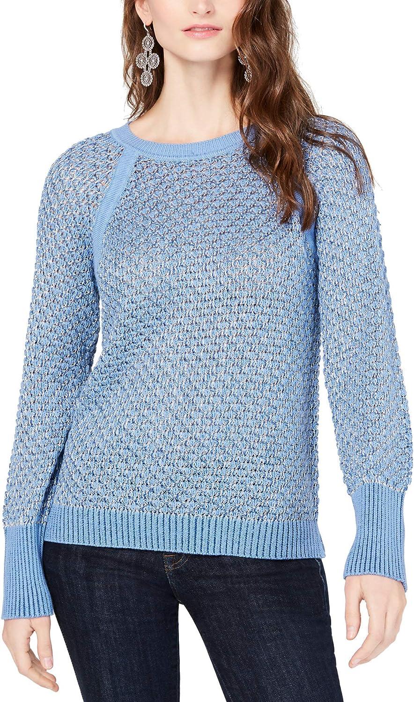 I.N.C. International Concepts INC Womens Lurex Pullover Crewneck Sweater Blue XL