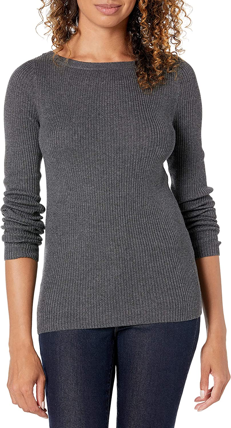 Amazon Essentials Women's Lightweight Ribbed Long Sleeve Boat-Neck Slim Fit Sweater