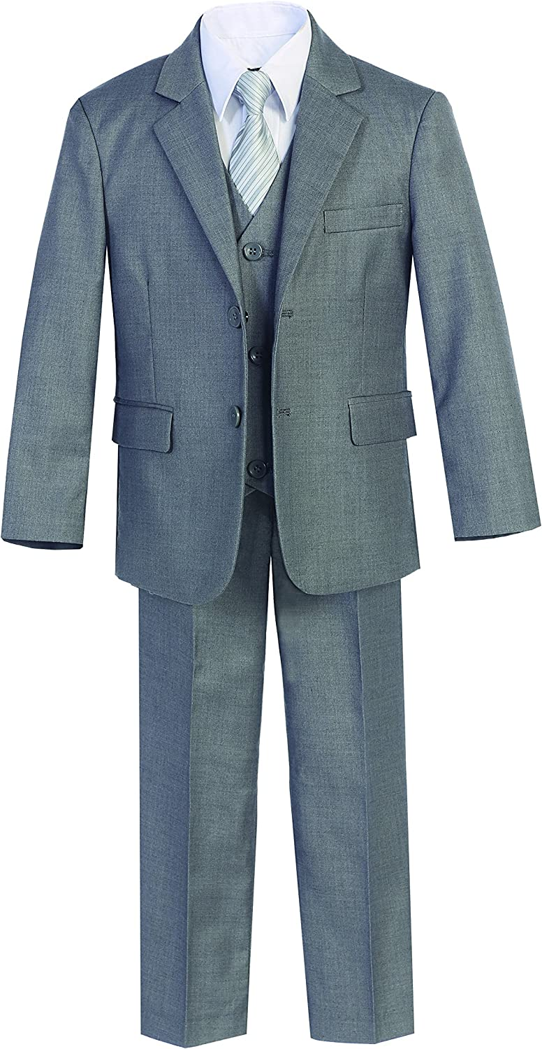 Magen Kids 7 Pc Boys Shipping included Slim FIT S Finally popular brand Suit Dress Gray Formal Vest Pant