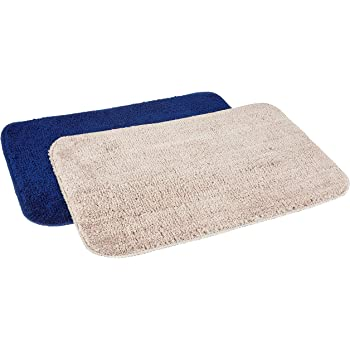 Amazon Brand - Solimo Anti-Slip Microfibre Bathmat, 40cm x 60cm - Pack of 2 (Blue and Beige)