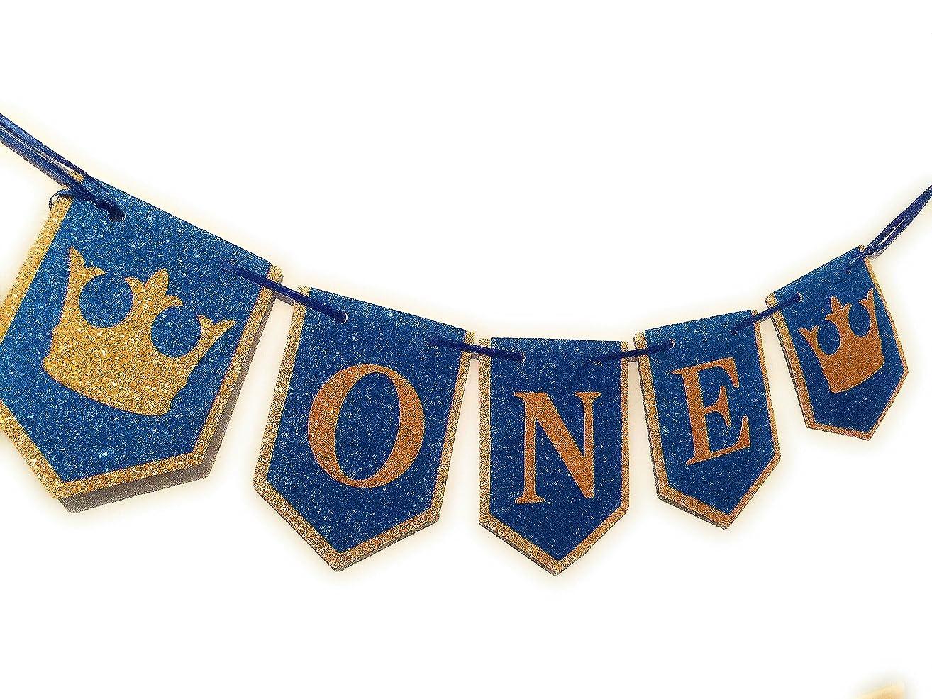 Royal Prince High Chair Birthday - Prince Decorations - Blue Gold Decorations - High Chair Banner