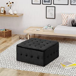 Christopher Knight Home Justin Glam Tufted Velvet Ottoman, Black