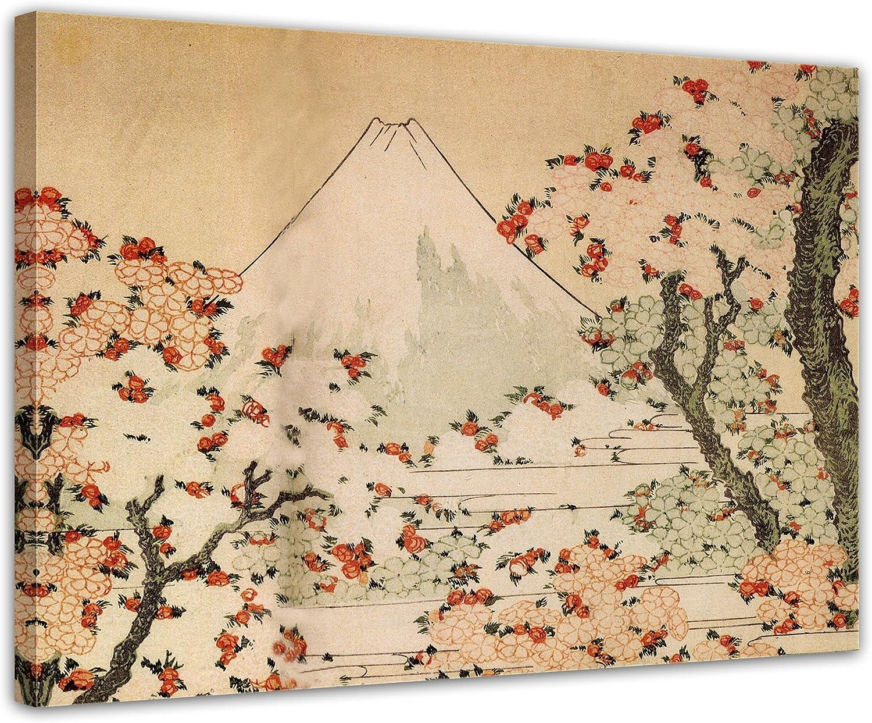 Wandbild Katsushika Katsushika Katsushika Hokusai - Blick auf den Fujijama mit blühenden Kirschbäumen 80x60cm - Leinwandbild Alte Meister Gemälde Bild auf Leinwand B013C3SOCC be46ad
