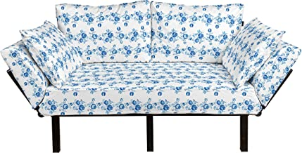 Sponsored Ad - Lunarable Traditional Futon Couch, Established Russian Folk Floral Rose Branch Blossoms Antique Effects Pri...