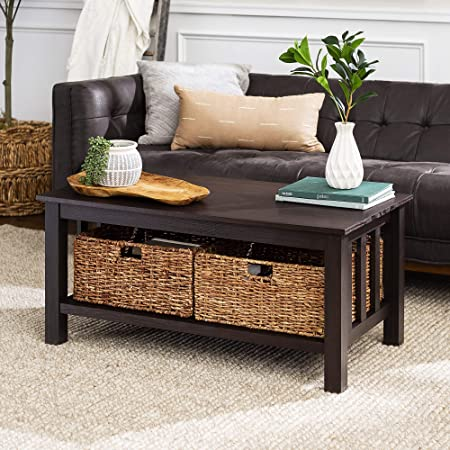 Walker Edison Alayna Mission Style Two Tier Coffee Table with Rattan Storage Baskets, 40 Inch, Espresso