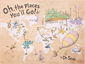 Patton Wall Decor 18x24 Dr. Seuss Colorful Characters Oh The Places You'll Go World Map Art Wall Decor, Tan