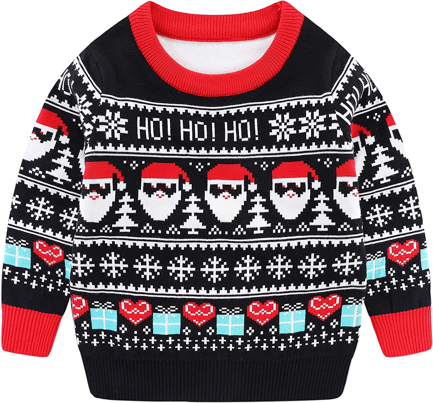 Boys Girls Ugly Christmas Sweater Knit Pullover Santa Snowflake Jumper Toddler Kids Fall Winter Warm Outfit Xmas Gift