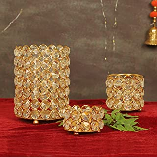 Tied Ribbons Crystal Tealight Candle Holder for Home Décor Tealight Candle Holder for Deepawali (Pack of 3) - Diwali Decor...