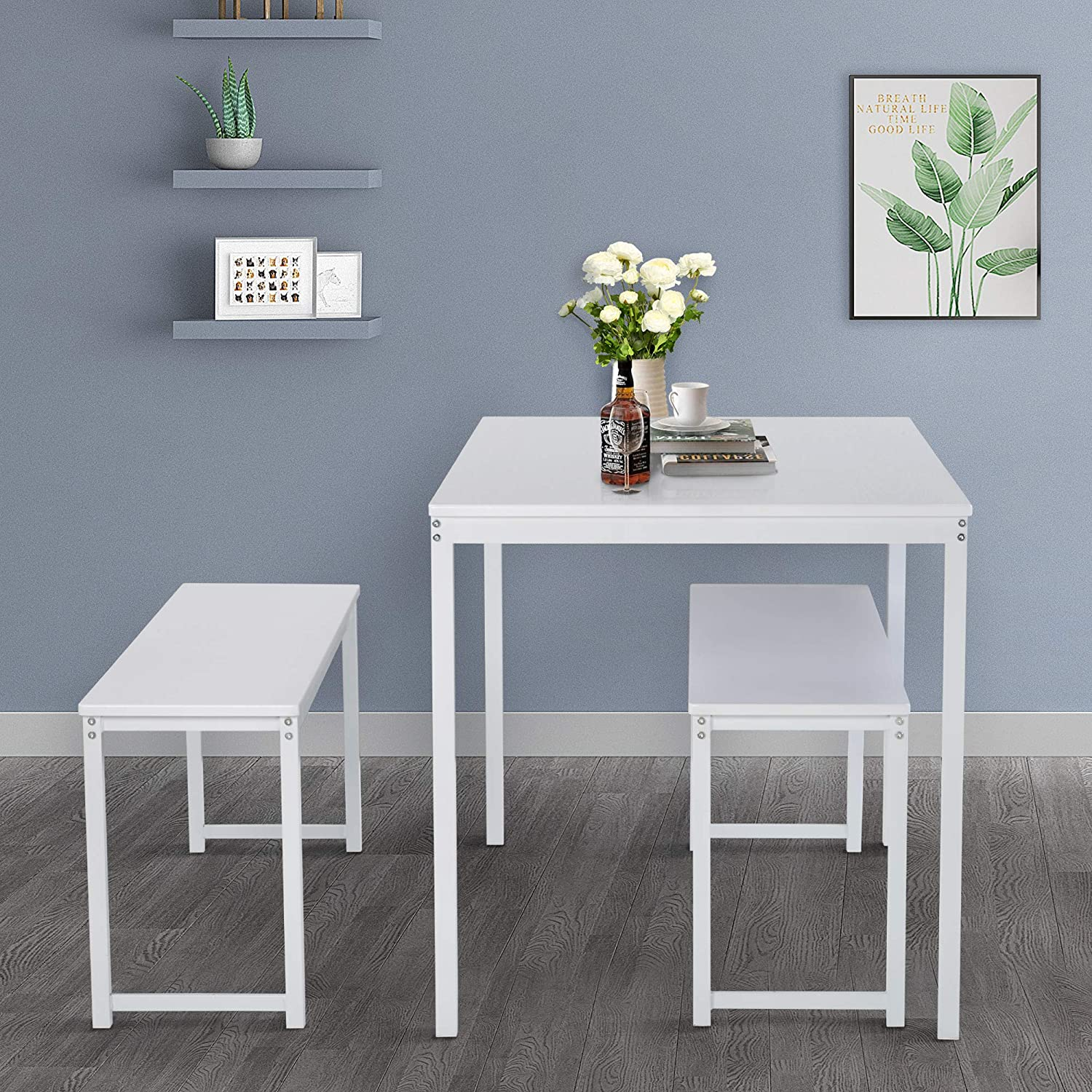 High order Merax 3-Piece Dining Table Set 47 Kitchen with Two Benches Cheap SALE Start