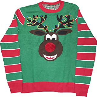 Ugly Christmas Sweater Christmas Reindeer Head Front Pooping Candy on Back Green Pullover Sweater
