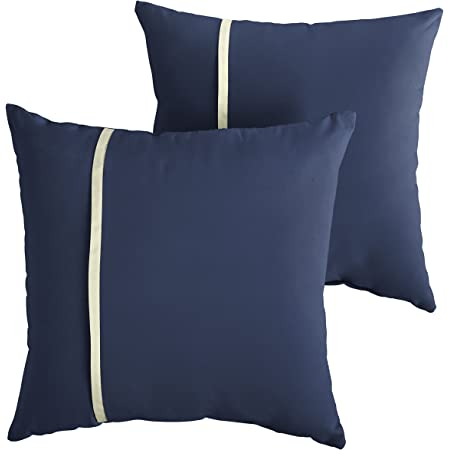 Amazon Com Mozaic Company Amps113655 Indoor Outdoor Sunbrella Lumbar Pillows Set Of 2 12 X 18 Canvas Navy Blue Canvas Natural Ivory Garden Outdoor