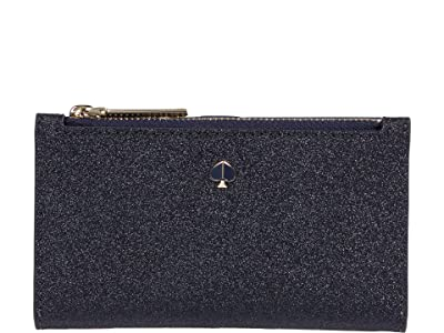 Kate Spade New York Burgess Court Small Slim Bifold Wallet (Lakeshore Blue) Handbags