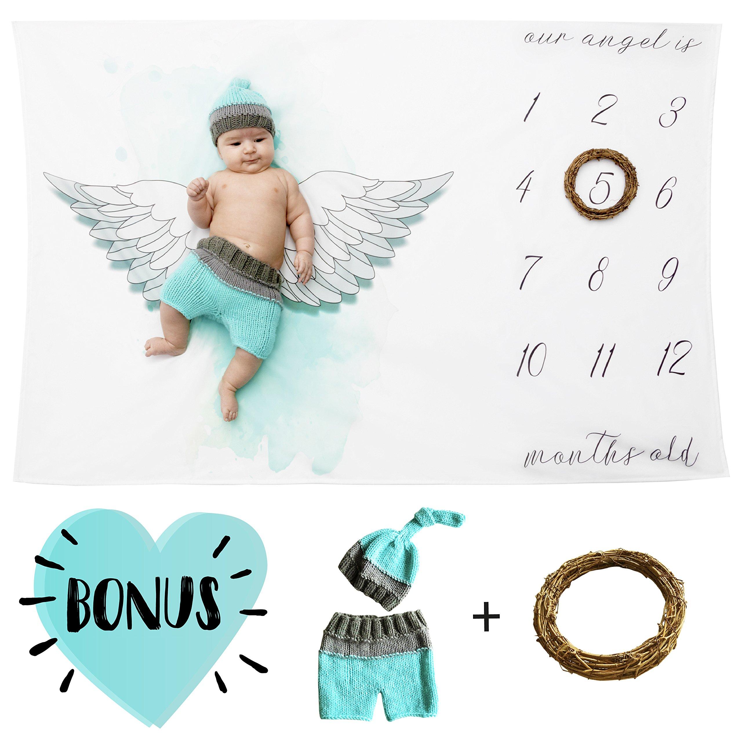 Newborn Milestone Blanket Angel Wings Blanket Baby Photography Prop Shower Gift