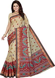 MALIQUA Women's Gadwaal Cotton Saree With Blouse Piece (SKR4977_Beige & Red)