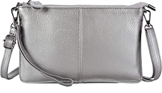 Befen Women's Leather Wristlet Clutch Phone Wallet, Mini Crossbody Purse Bag with Card Slots silver Size: Small