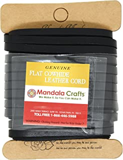 Mandala Crafts Flat Cowhide Genuine Leather String Cord Lace, Rawhide Strip for Jewelry Making, Clothing, Shoelaces, Baseball Gloves, and Saddles (5mm 5.5 Yards, Black)