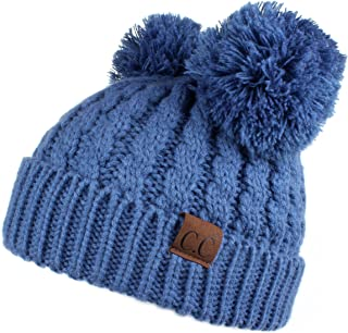 Hatsandscarf CC Exclusives Cable Knit Double Pom Winter Beanie(HAT-60) (Dk. Denim)